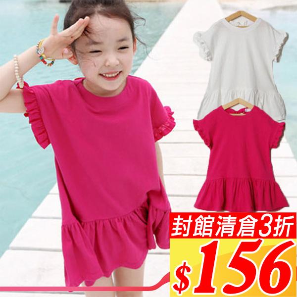 夏款純棉洋裝100~130cm^(2色^)~F062638~後綁帶荷葉裙擺洋裝~小蜜桃