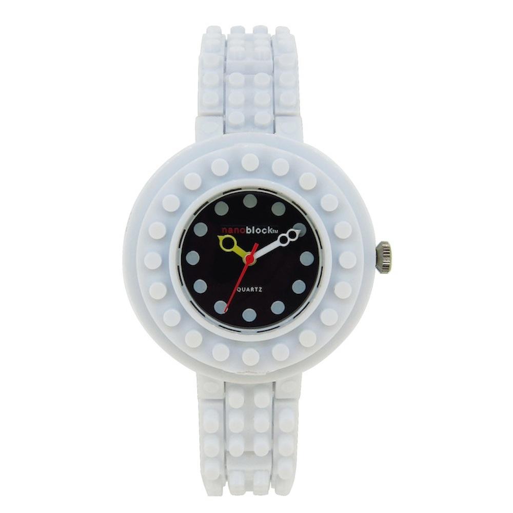 【nanoblock】日本河田積木圓形手錶 白色黑面(WA20)
