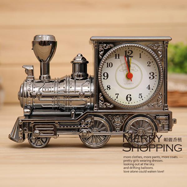 指針鬧鐘仿古火車 居家時鐘~媚儷香檳~CC011
