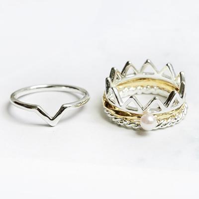 〔APM飾品〕 Kaza 皇座之夢絕美王冠戒指組 ^(金色系^) ^(銀色系^)