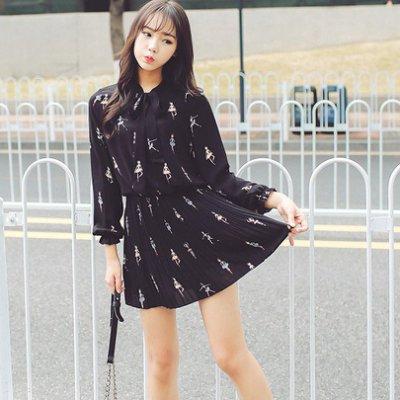 純淨甜美芭蕾女孩印花領結雪紡連身裙洋裝vinashop~預~ops906