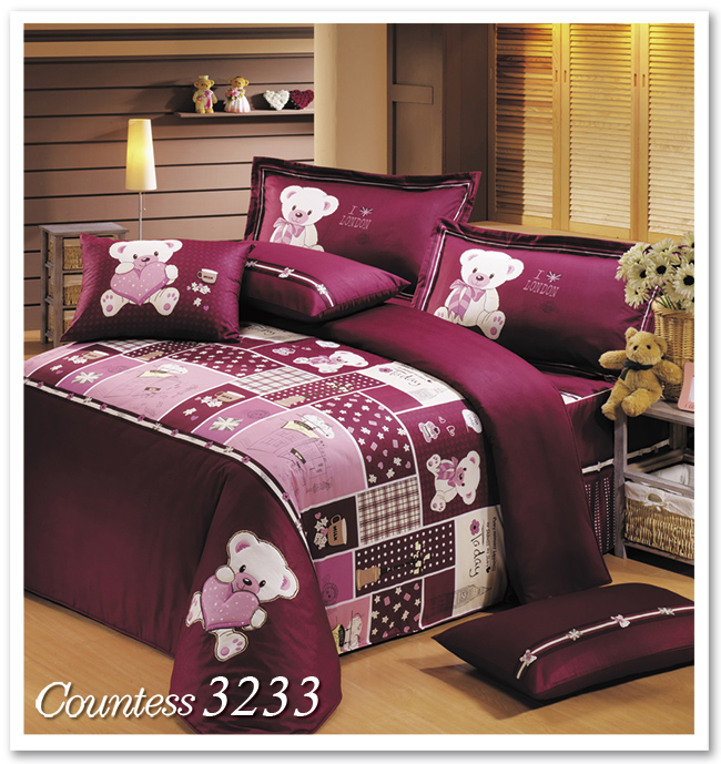Countess~3233~英式午茶熊~雙人4件式床包兩用被組