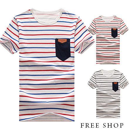 FreeShop~QMD20033~日韓風格滿版條紋印花胸前口袋拼接皮標撞色圓領棉質短袖上