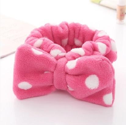 大蝴蝶結絨布包頭巾~玫瑰紅白點