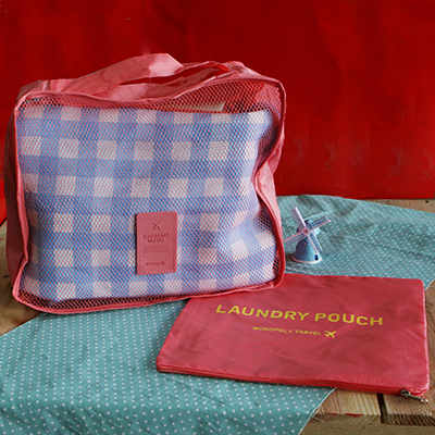 韓國防水旅行手提包/收納袋~粉紅