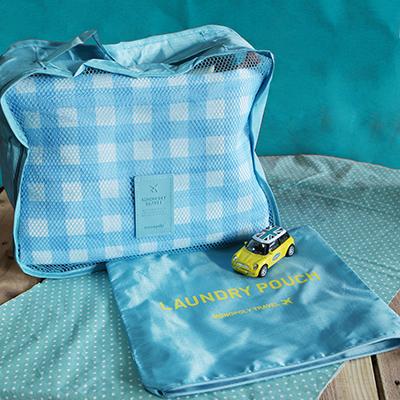 韓國防水旅行手提包/收納袋~淺藍