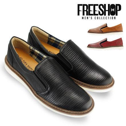 FreeShop~QSH0450~日韓風格直條紋亮面 低筒休閒鞋懶人鞋^(FTP19^)M