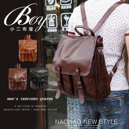 BOY2小二布屋~NQA5005~韓國 皮革後背包