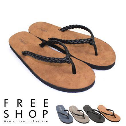 FreeShop~QSH0251~簡約實搭編織款潮流皮革 人字拖鞋夾腳拖鞋‧^(592D^