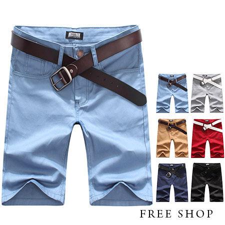 FreeShop~QBMQ3719~日韓系簡約 鈕扣 素色休閒短褲工作短褲五分褲有大 ^(