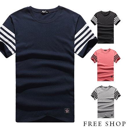 FreeShop~QR05017~美式休閒袖子條紋素面純色短T短袖上衣潮T恤^(三色^)