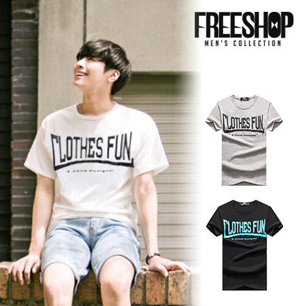 FreeShop~QMD30088~日韓LOTHESFUN字母雙面印花圓領棉質短T短袖上衣