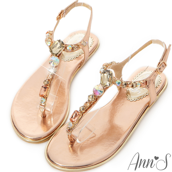 Ann'S璀璨氣質~絕美漸層色調T型寶石涼鞋~粉