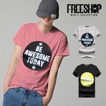 FreeShop~QMD60250~日韓風格大圓文字星星印花圓領棉質短T短袖上衣潮TMIT