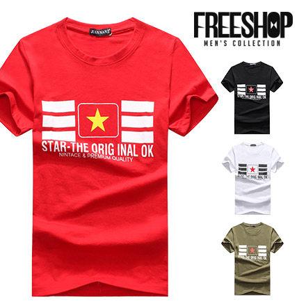 FreeShop~QTJJN02~日韓系英字星星方塊印花圓領棉質短T短袖上衣情侶款有大 ^