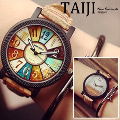 腕錶~NXD015~日韓風格‧復古羅盤圖案潮流腕錶‧二色
