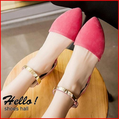 ~鞋館Shoeshall~~A8816~素面鐵片扣飾平底尖頭涼鞋^~ 米色38^~