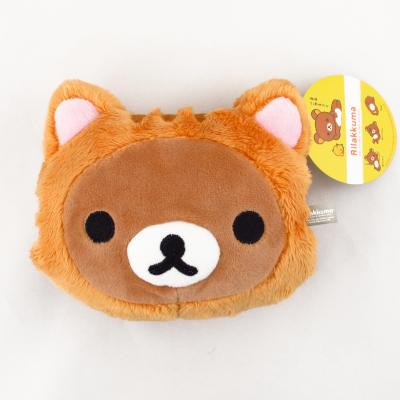 【拉拉熊Rilakkuma】貓咪頭型零錢包-咖熊