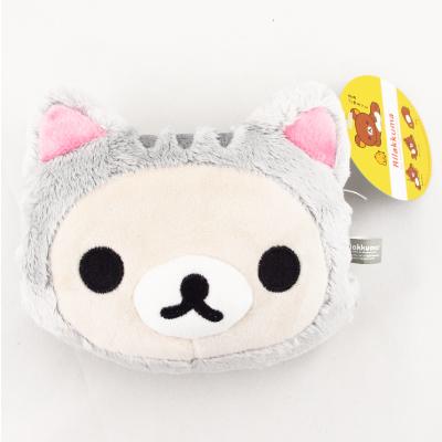 【拉拉熊Rilakkuma】貓咪頭型零錢包-白灰熊