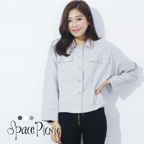 .大口袋短版襯衫式外套 ~FM~00422~
