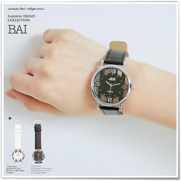 手錶 H型透視立體感輕薄皮革圓錶~BAi白媽媽~240709~