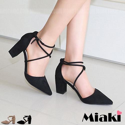 高跟鞋韓劇女角尖頭綁帶包鞋
