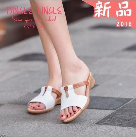 涼拖鞋~仲夏繽紛真皮楔型涼拖鞋^~白色