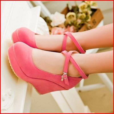 ~鞋館Shoeshall~~A12106~素面百搭交叉繞帶美型水台高跟楔型厚底包鞋^~ 米