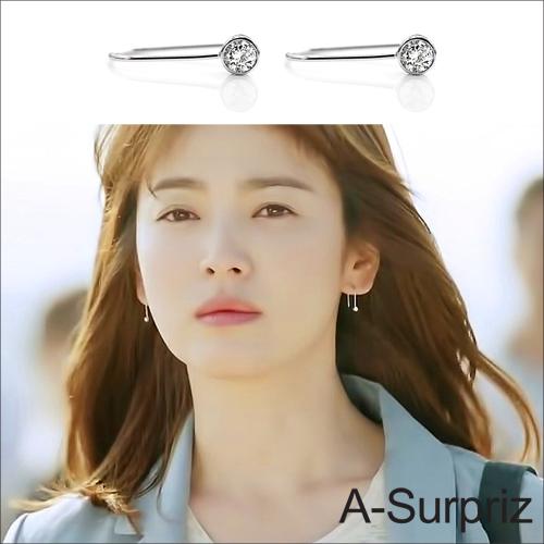 A~Surpriz太陽的後裔100^%925銀流線U型耳環