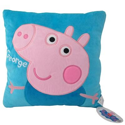 【Peppa Pig 粉紅豬】藍12吋抱枕/方枕