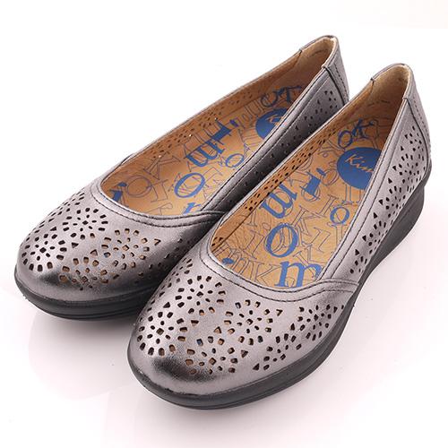 ~  2000~金屬感鏤空花紋娃娃厚底鞋^( 灰K15SF064172^).真皮.牛皮.休
