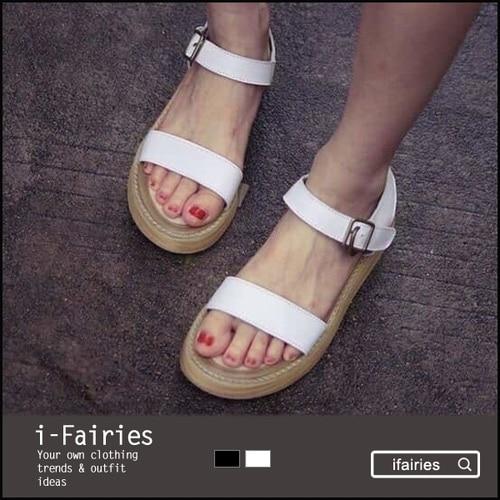 夏羅馬女士厚底真皮涼鞋女學生魚嘴鬆糕平底坡跟女鞋~LF23918~