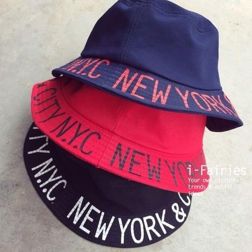 日韓系純色字母印花平頂漁夫帽遮陽帽~23880~