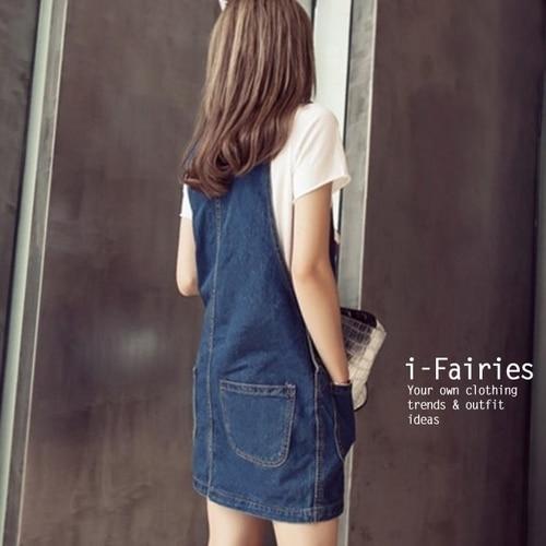 洋裝 背心 連身 牛仔 裙 裙子 ^( 版^)寬鬆顯瘦口袋單寧背帶裙短~YF21608~