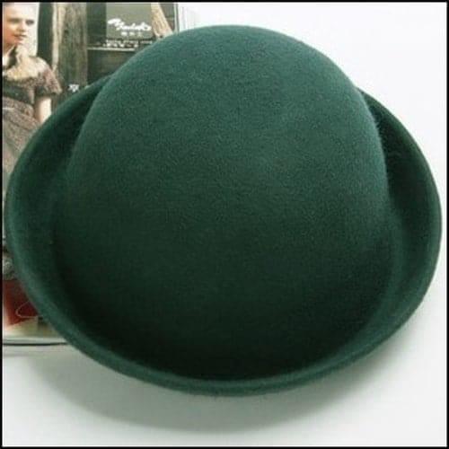 純羊毛呢卷邊圓頂小禮帽英倫復古丸子小圓帽子~16111~
