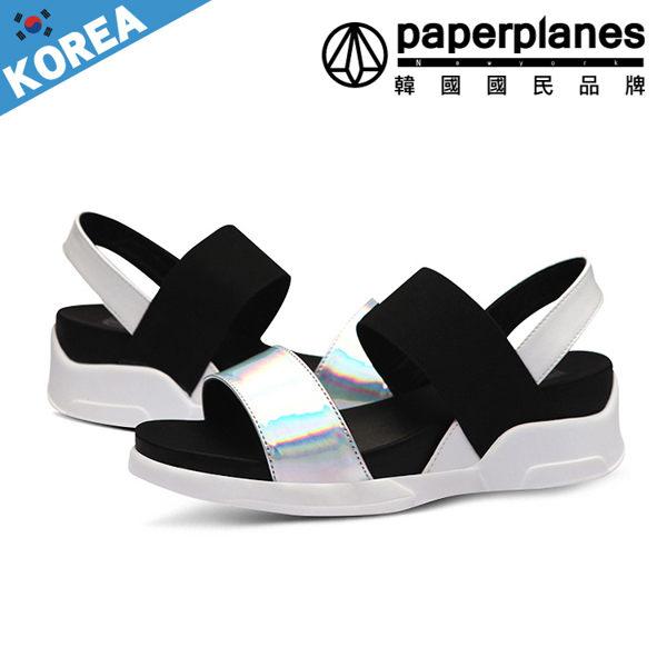 楔型鞋 正韓製 平行雙帶 黑白系 厚底 涼鞋~B7900232~3色現 預 韓國品牌紙飛機