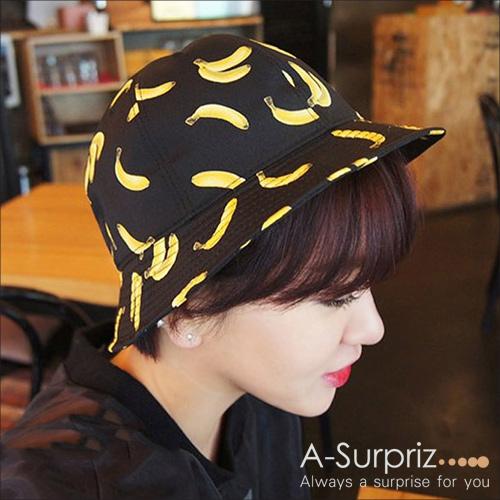 A~Surpriz Banana 水果漁夫帽^(黑^)