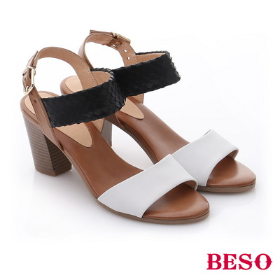 BESO◆極簡風格 牛皮一字帶粗跟涼鞋^~黑色