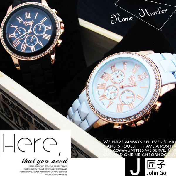 中性錶 女錶 奢華優雅浪漫 羅馬刻度中性錶 三眼 環繞華麗晶鑽~匠子工坊~~UT0137~