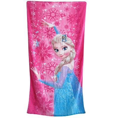 【迪士尼】冰雪奇緣大浴巾/粉色艾莎公主款
