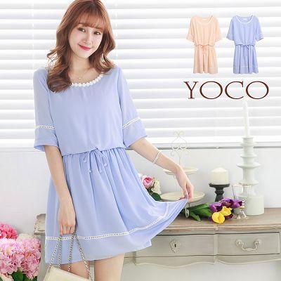 鏤空織紋短袖洋裝~XS.S.M^(6007289^)