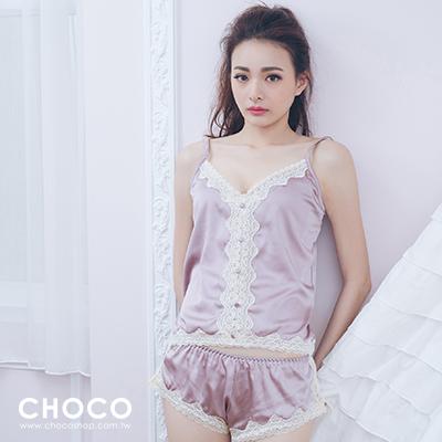 遙望愛情海.奢華緞面高 睡衣^(藕粉色^) Free Size Choco Shop