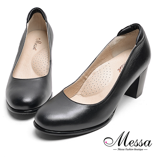 ~Messa米莎專櫃女鞋~MIT全真羊皮秘書系列柔軟素面圓頭高跟鞋~黑色