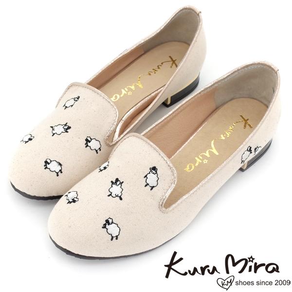 Kuru Mira~MIT小羊樂福鞋~米白
