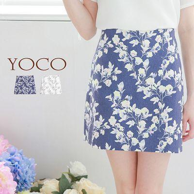 ~季末sale↘ 99up~花朵圖案高腰窄裙^(6007323^)^(售價已折^)