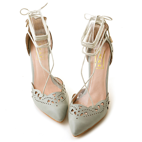 浪漫雕花尖頭芭蕾綁帶跟鞋 綠灰