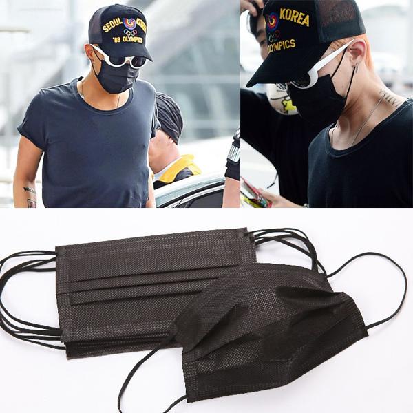 小物 搖滾黑色口罩 三層不織布全黑口罩 50入 ~R2606~