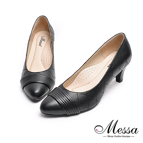 高跟鞋~Messa米莎 MIT全羊皮一字 菱格縫線高跟包鞋~黑色