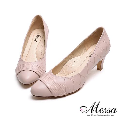 高跟鞋~Messa米莎 MIT全羊皮一字 菱格縫線高跟包鞋~粉紅色