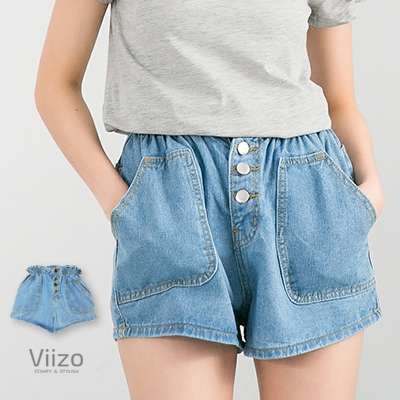~Viizo~鬆緊褲頭鈕釦 牛仔丹寧短褲